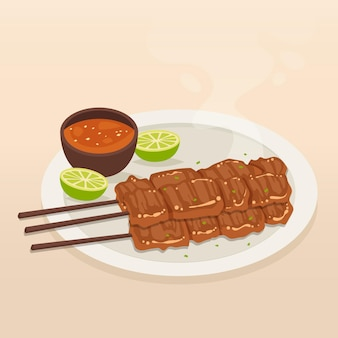 Hand drawn satay on a plate
