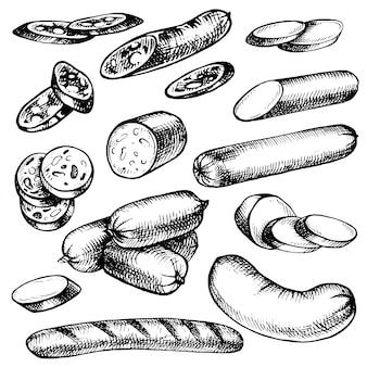 Ручной обращается колбасы вид, набор эскизов мясных продуктов.