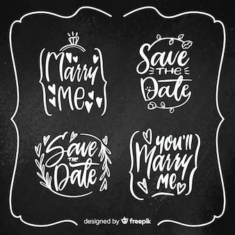 Hand drawn save the date label pack