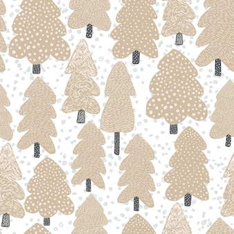 Hand drawn scandinavian tree seamless pattern.