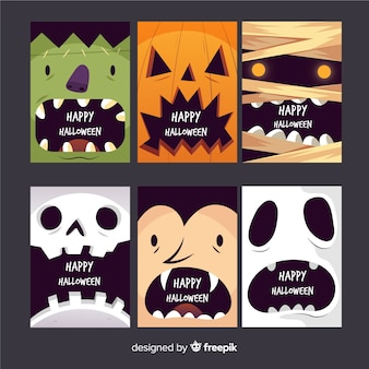 Hand drawn scary faces card collection