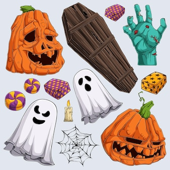 Hand drawn scary halloween elements collections