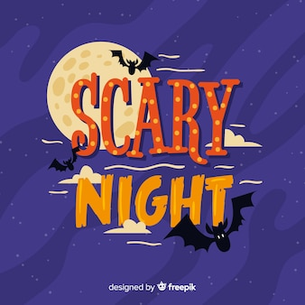 Hand drawn scary night lettering background