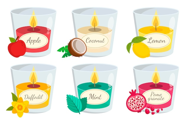 Hand drawn scented candle set