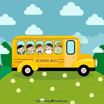 Hand drawn school bus with children
