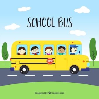 Hand drawn school bus with children