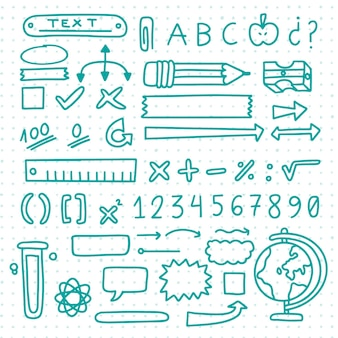 Hand drawn school infographic elements set