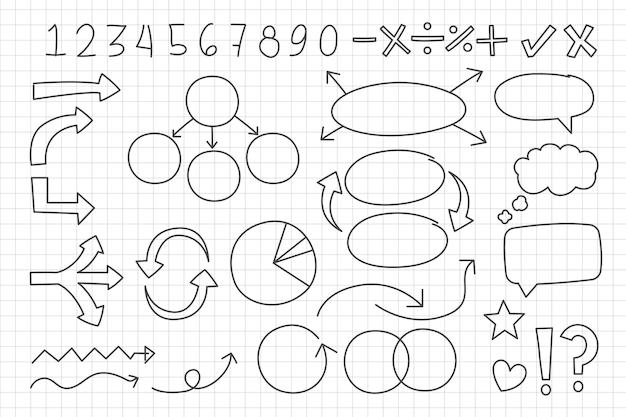 Insieme di elementi di infografica scuola disegnata a mano
