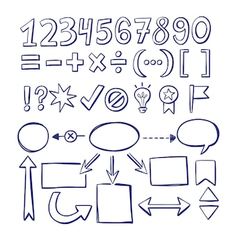 Набор рисованной школьных инфографических элементов