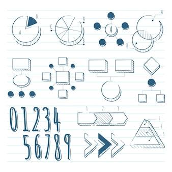 Hand drawn school infographic elements