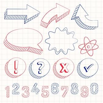 手描きの学校のインフォグラフィック要素