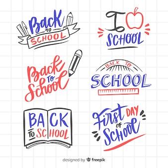 Hand drawn school logo collection