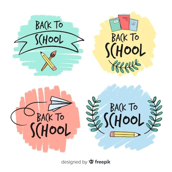 Hand drawn school logo template collection