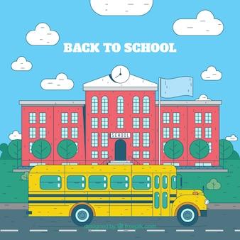 Hand drawn school and school bus