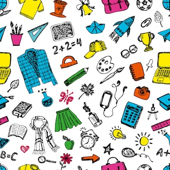Hand drawn school seamless pattern on white background. vector icon set surface print.