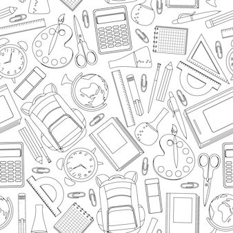 Hand drawn school supplies seamless pattern.