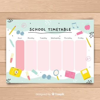 Hand drawn school timetable template