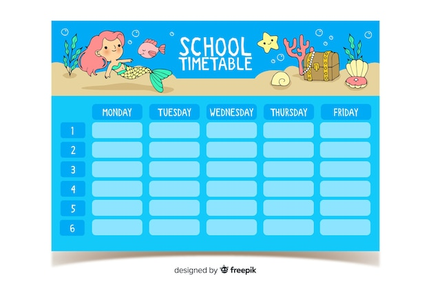 Hand drawn school timetable with cute characters
