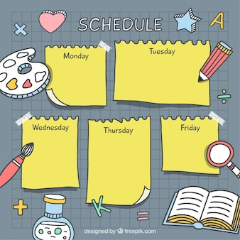 Hand drawn school timetable with drawings