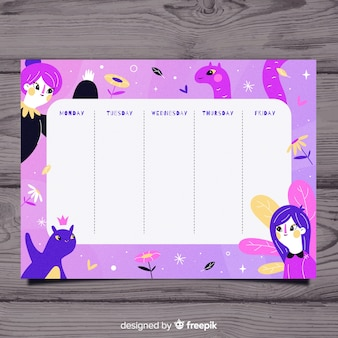 Hand drawn school timetable with illustrations