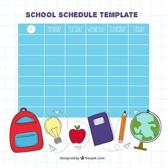 Расписанное школьное расписание Бесплатные векторы