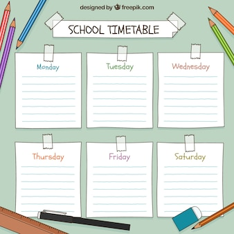 Hand drawn school timetable