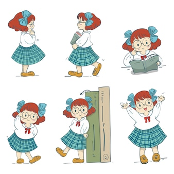 Hand drawn schoolgirl character design, vector illustration