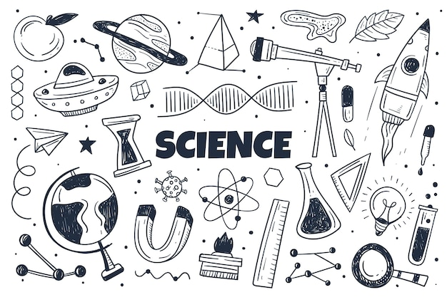 Hand drawn science background with elements set