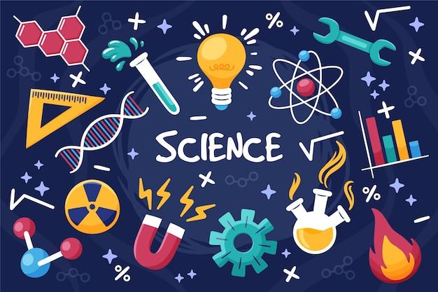손으로 그린 과학 교육 배경