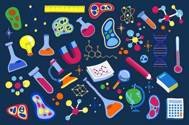 Hand-drawn science education background