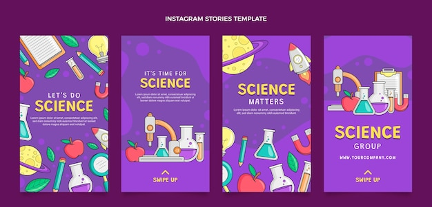 Hand drawn science ig stories