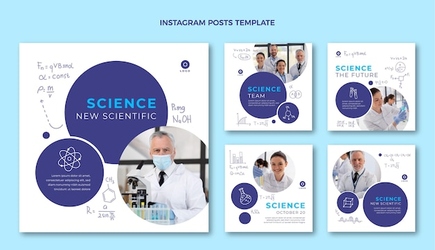 Hand drawn science instagram posts template