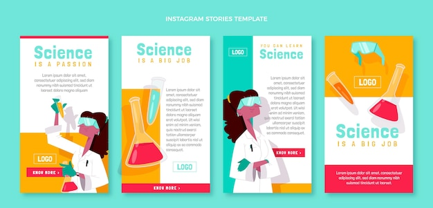 Hand drawn science instagram stories collection