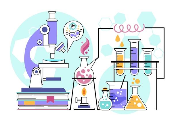 Нарисованная рукой иллюстрация научной лаборатории