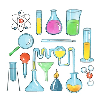 Hand drawn science lab objects set