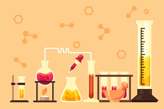 Hand drawn science lab with  chemistry items