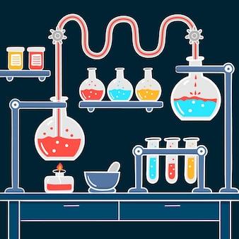 手描きの科学実験室