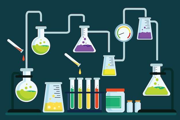 Oggetti di laboratorio di scienza disegnati a mano