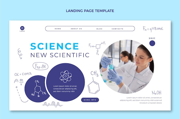 Hand drawn science landing page template