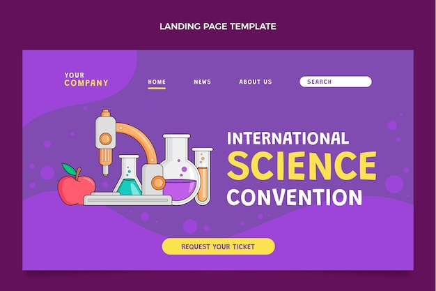 Hand drawn science landing page Free Vector