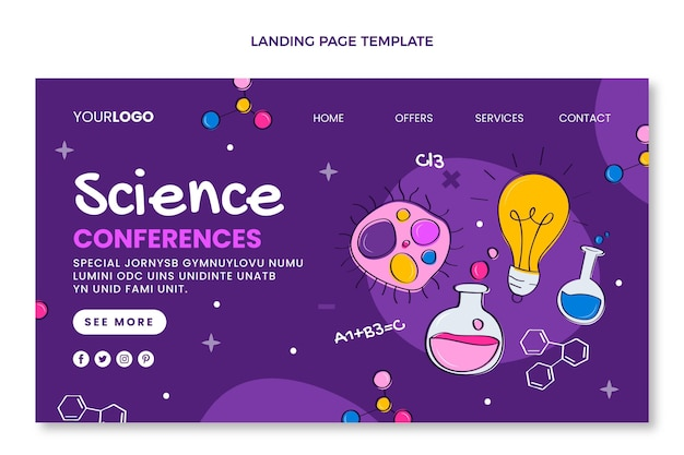 Hand drawn science landing page