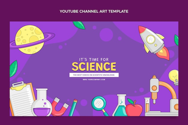 Hand drawn science youtube channel art
