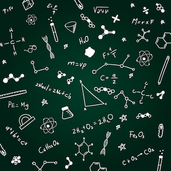 Hand drawn scientific formulas on chalkboard background