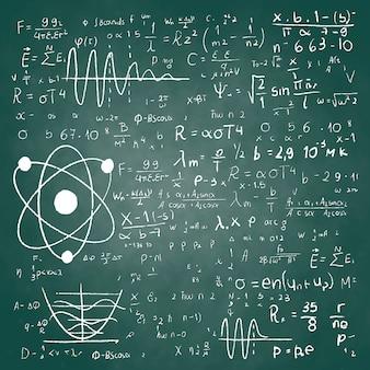 Hand drawn scientific formulas on chalkboard