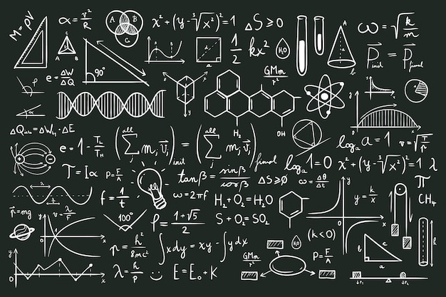 Hand drawn scientific formulas on chalkboard