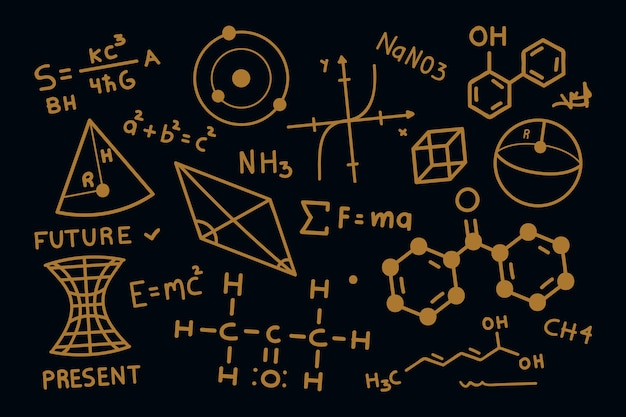 手描き黒板背景に科学的な数式