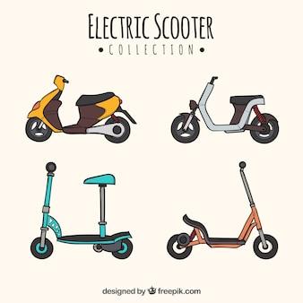 Scooter disegnati a mano con stile colorato
