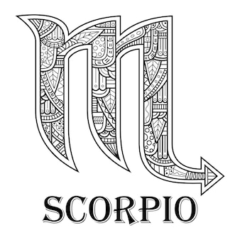 Hand drawn of scorpions in zentangle style