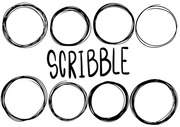Hand drawn scribble circle lines. doodle circular logo design sketch isolated elements.