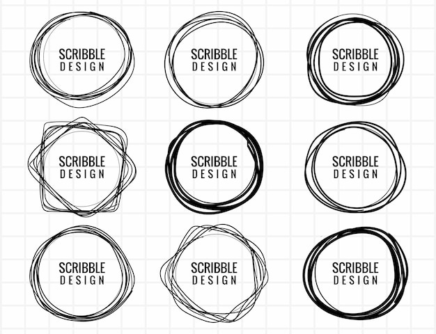 Hand drawn scribble circle set design